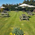 The Churchill arms garden with fantastic views