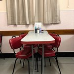 Formica tables and vinyl chairs