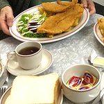 Fish and chip dinner with accompaniments