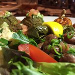 Mediterranean Tasting- Hummus, Muhammara, Grape Leaves, Baba Ghanouj, Fava Bean Salad, Falafel