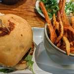 Black Bean Burger with Fries