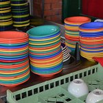 Even the dishes were colorful at Mi Tierra!