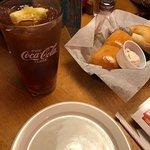 fresh rolls and iced tea