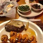 grilled shrimp, green beans, mushrooms, baked potato and steak