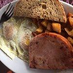 The Wake-Up Plate: eggs, ham, potatoes and toast.