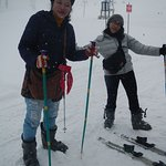 me and my friend skiing