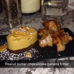 Peanut butter cheescake and banana fritters