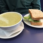 Broccoli and Stilton soup. Hummus and chili jam sandwich.