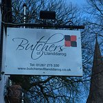 The Butchers of Llanddarog sign
