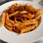 Penne pasta with homemade meatballs