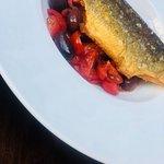 Pan Fried Sea Bass, Tomatoes, Kalamata Olives and Basil