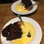 Chocolate fudge cake and custard