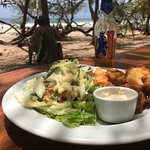 Fish and chips, salad and Bavarria