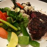 Filet mignon with risotto substitution and veggies.