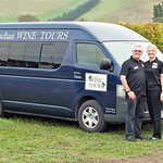 Chris and Lyndie with the air conditioned minibus for our group tours