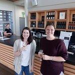 Julia and Jenny enjoying their tasting at Spy Valley cellar door