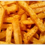 Fabulous Cajun spiced fries which go so well with the chicken kebab