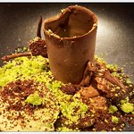 Chocolate and Pistachio Tree Trunk, dark chocolate mousse, lime jelly and pistachio ice cream