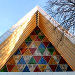 Cardboard Cathedral stained glass windows