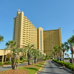 Entrance towards Pelican Beach Resort.