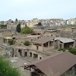 View of Herculaneum - you can see in the distance the new/current town is built on top of the si