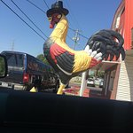 Rooster in a top hat.