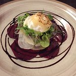 Lovely - beetroot carpaccio with soft goat's cheese salad.