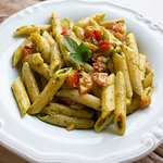 Roasted pistachio pesto penne pasta