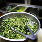 Preparing the tabouli salad !!!