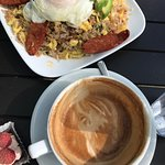 Portuguese Fried Rice and a Latte
