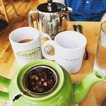 Mango Tea and Small Pressed Coffee