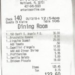A scan of detailed receipt to show what we really had..ALL wonderful !!