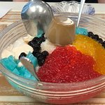 Shaved ice at the end of meal. Blue jello and coffee pudding are the best!