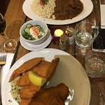 Chicken Schnitzel and Goulash with Dumpling and Cucumber Salad