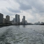 View of Tokyo and Sumida River, seen from Tokyo river cruise boat