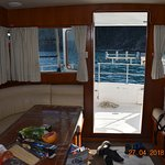 cabin, looking out to lower deck