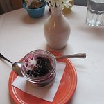 Coconut cream custard with blueberry sauce - Superb!