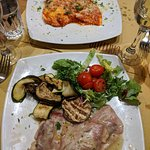 Top: Home-made Ravioli; Bottom: Veal Saltimbocca (First Night)