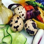 Fresh quail eggs and veggies