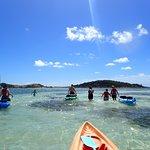 Sandbar - shallow water where you can walk the kayaks.
