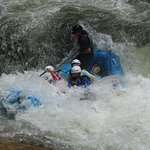 Chattooga River white water rafting with Wildwater. Going over Class IV Bull Sluice.