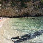 The pebble beach on cameo island
