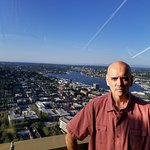 Bill Lewis of Cooper City, Florida, visiting the Space Needle in Seattle, Washington.
