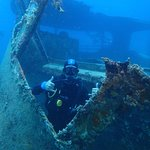 Divemaster Uros giving 2 thumbs up on wreck dive.