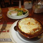 French onion soup and side salad