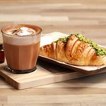 Red Cappuccino and Pistachio Croissant