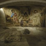 Painting of Holy family at the underground cave of the St. Joseph's church in Nazereth