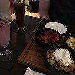 Tapas, which was Chorizo, Prawns and Potatoes with Sour Cream. Lond Island Ice Tea and Raspberry