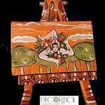 Piccolo quadro Decortack (cm 8x5) con trinacria dipinta a mano su tela