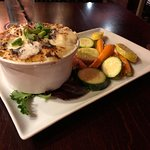 Sheppard's Pie with roasted garlic vegetables